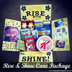 Rise and Shine Care Package great idea for college kids too (breakfast bars, cereal, instant breakfast mixes, etc) Missionary Care Packages, Deployment Care Packages, College Care Packages, Missionary Gifts, Care Package College, Military Care Packages, Lds Missionaries, Cute Gifts, Diy Gifts