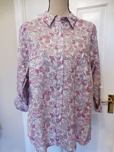 MARKS & SPENCER Pure Cotton Pink Mix Paisley Shirt Blouse BNWT NEW UK 24