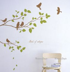 Two Branches with Flying Birds -Vinyl Wall Decal,Sticker,Nature Design. $28.00, via Etsy.