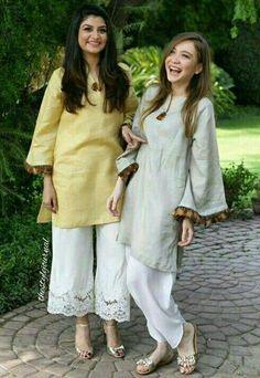 Pakistani Eid outfits by Maheen Ghani Taseer. Simple Pakistani Dresses, Pakistani Fashion Casual, Pakistani Dress Design, Pakistani Outfits, Indian Dresses, Indian Outfits, Indian Fashion, Eid Outfits, Stylish Dresses For Girls