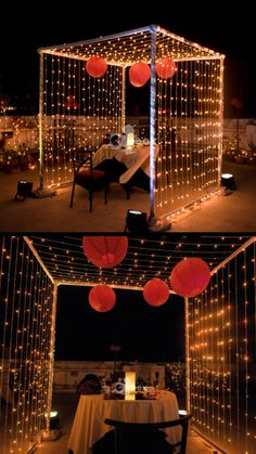 A beautiful cabana with a personalised dining setup and lights under the stars! Desi Wedding Decor, Wedding Stage Decorations, Backdrop Decorations, Romantic Room Surprise, Romantic Date Night Ideas, Romantic Home Dates, Romantic Room Decoration, Mehendi Decor Ideas, Terrace Decor