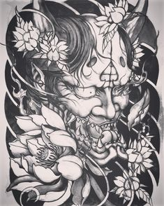 Hanya and lotus sketch Hannya Mask Tattoo, Demon Tattoo, Samurai Tattoo, Yakuza Tattoo, Oni Mask, Japanese Mask Tattoo, Japanese Tattoo Symbols, Japanese Tattoo Designs, Chest Piece Tattoos