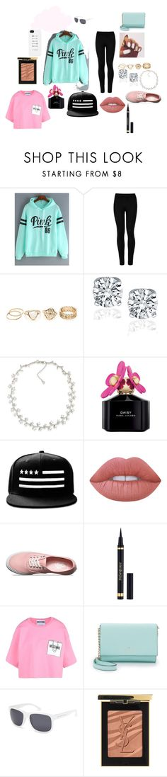 """travel outfit"" by annie-childx on Polyvore featuring Wolford, Carolee, Marc Jacobs, Lime Crime, Vans, Yves Saint Laurent, Moschino, Kate Spade, Blue Crown and casual"