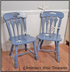 Love these two amazing chairs painted in a custom mix of Annie Sloan, distressed and soft waxed.