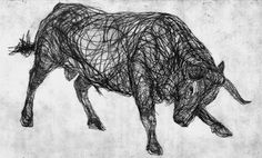 I like this Drypoint art of a bull purely because of the curves and large spirals that have been carefully carved into the metal plate to make the bull look like its made up of metal wire. (as if its a real piece of three dimensional art). This effect also makes it very striking to look at.