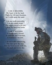 """""""I am a soldier"""" art poster print by Danny Hahlbohm. A tribute to our American heroes of military, police and firefighters. Copyrighted by the artist. All rights reserved by the artist. www.inspired-art.com"""