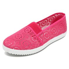 Sale 22% (15.93$) - Women Breathable Mesh Printing Loafers Slip On Soft Sole Flat Shoes