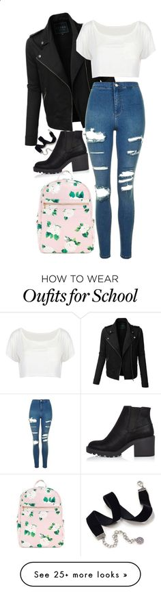 School girl by thefashionguilty on Polyvore featuring LE3NO, Topshop, Sweet Romance and River Island