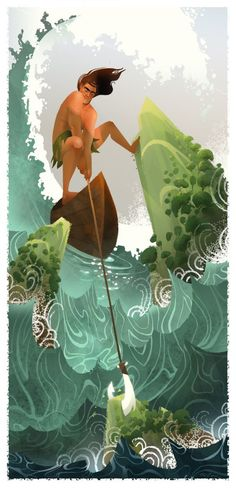 """Maui,"" the demi-god who fished the Hawaiian islands from the sea. By Brittney Lee."