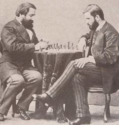 Ilia Chavchavadze and Ivane Machabeli playing chess, Saint Petersburg