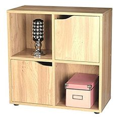 Oak Finish 4 Cube 2 Door Shelf Books CDs & DVDs Wooden Storage Display Unit Bookcase  Empire Home Solutions £28.94