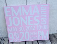 Painted Wooden Sign  Personalized for Baby by harlowjanedesigns, $48.00 www.harlowjane.com