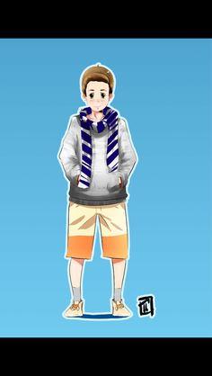 boy with muffler illustration from Travis