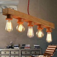 bois moderne pendentif 5-lumière lumière - EUR € 163.63