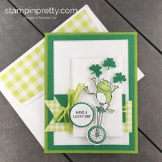 Learn How to Create this St Patrick's Day Card using the So Hoppy Together Stamp Set and coordinating Hoppy For You Dies by Stampin' Up! Mary Fish, Stampin' Pretty up st patricks day treats So Hoppy Together St. Birthday Greetings For Kids, Birthday Cards, St Patricks Day Cards, Kids Stamps, Mary Fish, Stampin Pretty, Scrapbooking, Pretty Cards, Stampin Up Cards