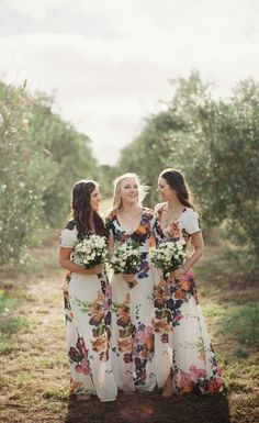 Bright, Floral Bridesmaid Dresses