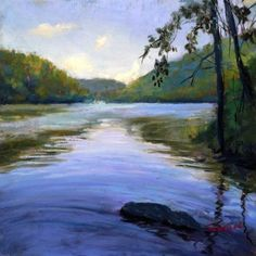 Hudson Reflections, painting by artist Takeyce Walter
