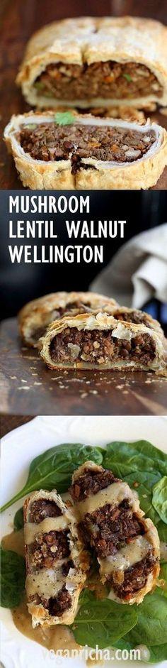 Mushroom Walnut Lentil Wellington. Easy Vegan Wellington for the Holidays and potlucks. Puff pastry wrapped lentil walnut mushroom loaf. Use pecans for variation Vegan Recipe. Make into a loaf to make gluten-free. #vegan #veganricha