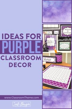This post has purple classroom decor ideas, editable printables, and more. It's great for teachers interested in cheap classroom decor on a budget. Purple Classroom Decor, Classroom Color Scheme, 5th Grade Classroom, Classroom Themes, Classroom Organization, Classroom Management, Reading Areas, School Themes, School Ideas