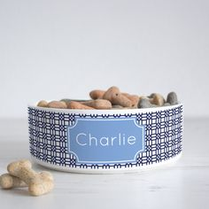 Weave Print Pet Bowl - Dog Bowl - Personalised dog bowl - custom cat bowl…