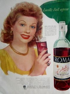 1948 Roma Wine Coolers Vintage Advertisement Lucille Ball Kitchen Wall Art Bar Decor Original Magazine Print Ad I Love Lucy Ephemera by RelicEclectic on Etsy
