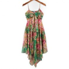 $8.89 Refreshing Spaghetti Strap Colorful Tiny Floral Print Bowknot Embellished Chiffon Dress For Women