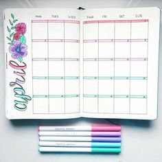 15 Super Pretty Monthlies ..... Inspiration for your bullet journal and candy for your eye, or both! It's all good. Like this fresh, new, flower-decked April calendar.