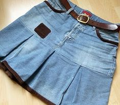 Upcycled pleated jeans skirt