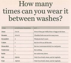 maybe most importantly: The definitive guide to how many times you can wear something without having to wash it. And maybe most importantly: The definitive guide to how many times you can wear something without having to wash it. Deep Winter, Fashion Mode, Fashion Tips, Fashion Hacks, Diy Fashion, Petite Fashion, Fashion Fall, Ladies Fashion, Curvy Fashion