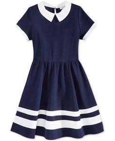 Monteau Girls' Navy & White Skater Dress
