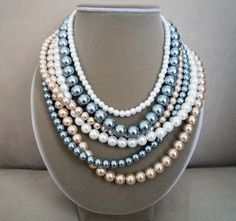 Silver Springs -- Swarovski Multi Strand Cluster necklace. $132.00, via Etsy.