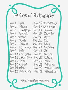 Take part in a one-month photo challenge. Post a photo every day that month.