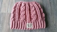 Crocheted Cabled Messy Bun Hat