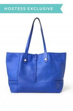 Cobalt Blue Leather Tote Bag for Women   Paris Market Tote   Stella & Dot click to shop @ www.stelladot.com/loriakowalik