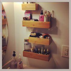 Make up organizer using bamboo drawer utensil holders!