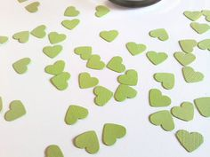 Lime Green Confetti Hearts 500 Pieces by Creationsbylaceyjane, $6.00