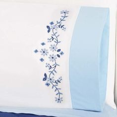 Herrschners® Sky Blue Pillowcase Pair with Cuff Stamped Cross-Stitch