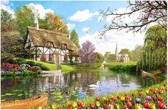 Painting:'Tulip Garden' by London Artist Dominic Davison.