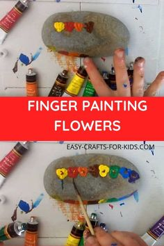 Finger painting flowers on rocks is a great Summer activity! Beach Crafts For Kids, Art For Kids, Kids Crafts, Creative Crafts, Easy Crafts, Arts And Crafts, Crafts For 3 Year Olds, Epic Kids, Finger Painting