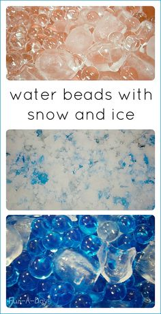 Fun winter sensory activities with water beads, ice, and fake snow. Lots of sensory exploration, science, and winter fun for the kids. Calming Activities, Autism Activities, Sensory Activities, Winter Activities, Infant Activities, Activities For Kids, Sensory Tools, Sensory Bins, Sensory Play