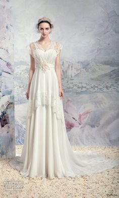 papilio 2016 bridal flutter sleeves sweetheart neckline romantic a  line wedding dress chapel train (1613l ob) mv