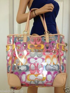 I need a clear bag for CVS Clear Tote Shoulder Multi Color Bag Purse Cheap Coach Handbags, Cheap Coach Bags, Purses And Handbags, Discount Coach Bags, Coach Bags Outlet, Clear Bags, Beautiful Bags, Handbag Accessories, Women Accessories