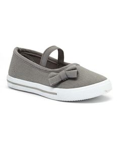 Look what I found on #zulily! Gray & White Strap Side-Bow Sneaker #zulilyfinds