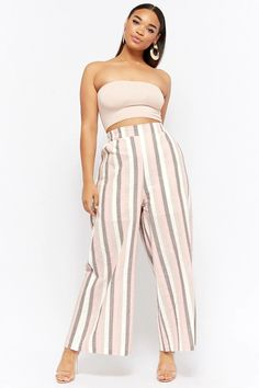 Product Name:Plus Size Striped Flared Pants, Category:CLEARANCE_ZERO, Price:48
