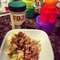 21 Day Fix recipe ideas. Apples, Greek yogurt, PB2 and cinnamon. YUM.
