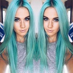 This long straight pastel blue hair is so fantastic! More at http://www.hairchalk.co/ #haircolor #hairdye #newhairdontcare