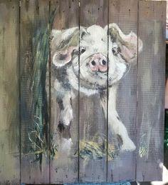 Piglet on panel , handpainted. 80x85cm