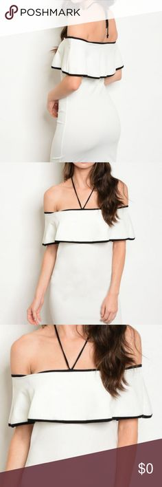 "WHITE BLACK RUFFLE OFF SHOULDER DRESS Off the shoulder body con dress with halter neck tie. Country: USA Fabric Content: 96% POLYESTER 4% SPANDEX Size Scale: S-M-L Description: L: 30"" B: 24"" W: 26"" Dresses Mini"