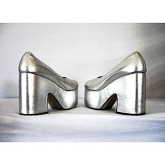 1970s glitter rock glam rock vintage Huge wedge shimmery silver... ($177) ❤ liked on Polyvore