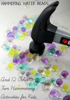 Water Beads Fine Motor Activities for Preschoolers Hammering Water Beads & 12 Other Fine Motor Hammering Activities- from Fine Motor Fridays on Lalymom.Hammering Water Beads & 12 Other Fine Motor Hammering Activities- from Fine Motor Fridays on Lalymom. Motor Skills Activities, Art Therapy Activities, Gross Motor Skills, Sensory Activities, Learning Activities, Preschool Activities, Sensory Play, Sensory Rooms, Sensory Table
